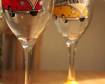 VW Campervan Inspired Hand Painted Wine Glass