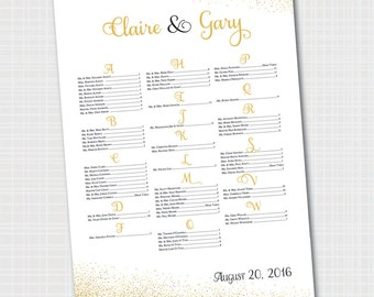 Elegant Wedding Seating Chart | Gold & Black | Gold Confetti Seating Chart {Digital File}   |  Printable Seating Plan Poster, Seating Board