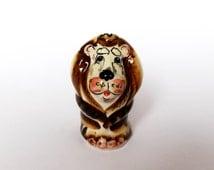 Lion Figurine Brown Ceramic Lion Statuette Collectible Cats & Lions Porcelain Lion Figure Gift for Wild Nature Lover Cat Lover Safari Animal