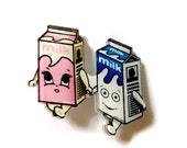Cute Kawaii Carton Milk Couple In Love Cool  & Funny Acrylic, Blue, Pink Pastel Plastic Brooch, Pin, Backpack Pin, Geeky Valentines Day Gift