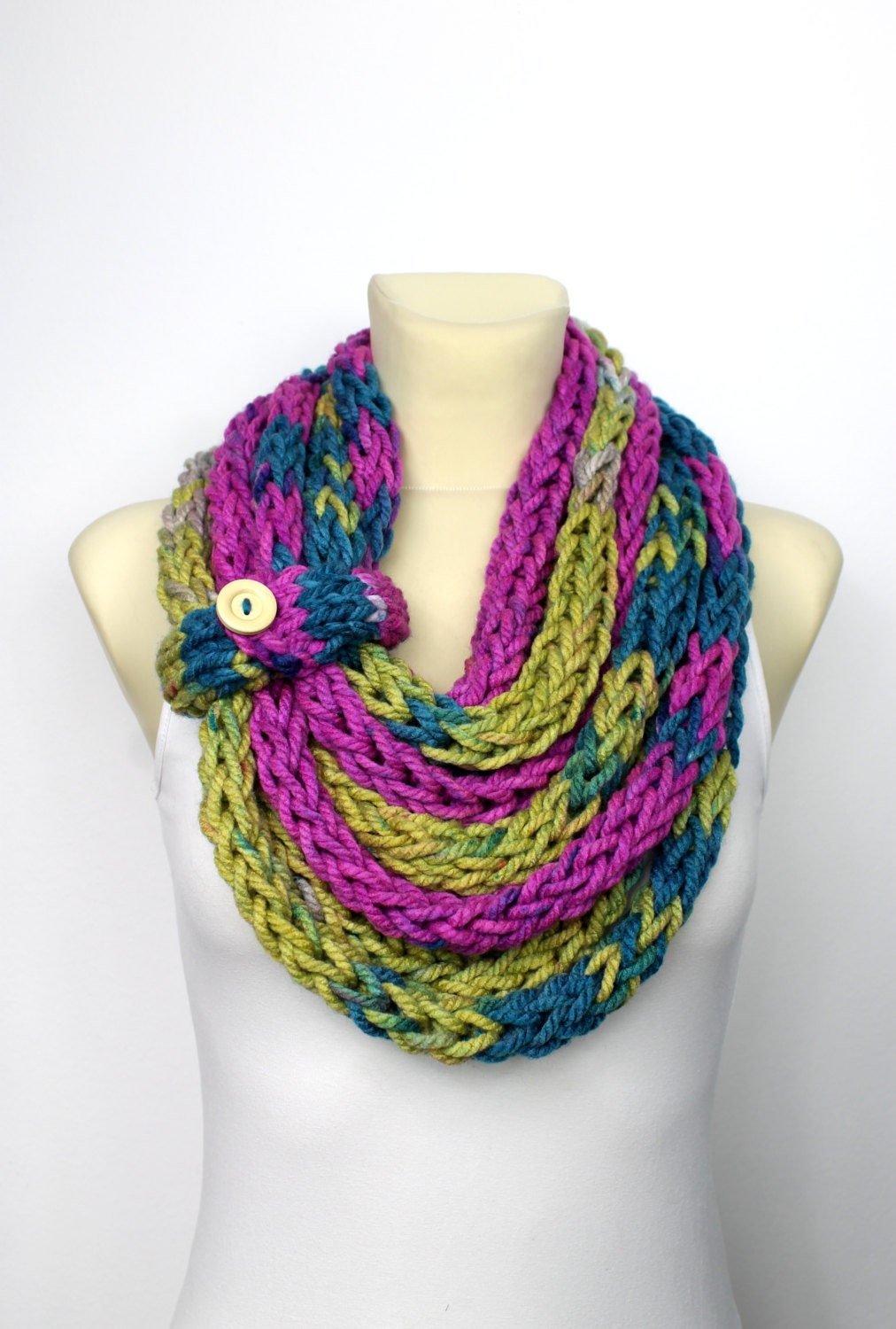 Knit Cowl Scarf Knit Infinity Scarf Knitted Loop Scarf