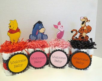 Pooh and Friends Mini Diaper Cake Centerpiece, baby gift
