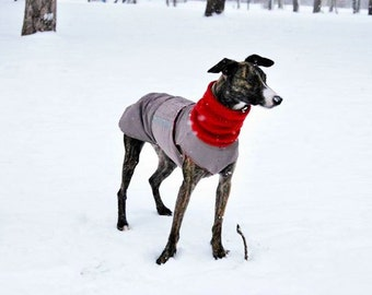 Greyhound Winter Dog Coat - Dog Jacket with snood and underbelly protection - Waterproof / Fleece coat + turtleneck / snood - MADE TO ORDER