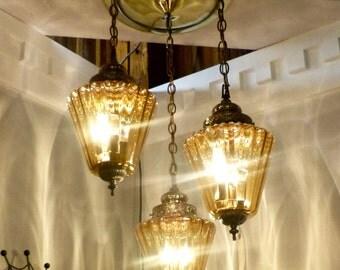 3 Lamp Vintage amber celling light fixture
