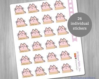 Kitty box Stickers for your Erin Condren Life Planner, Plum Planner, Filoflax, calendar - cat planner stickers