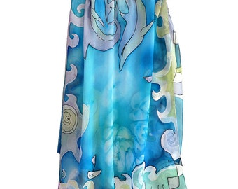 Dolphins shawl hand painted. Aqua blue scarf with sea design. Hand painted chiffon scarf in blue, violet and green. Sea scarf with dolphins.