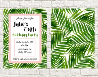 Birthday Invitation Tropical Theme Birthday Invite Green Pink Palm Trees Birthday Theme Printable Invitation