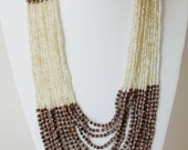Bronze, Brown and Beige Multi Strand Necklace / Wood Beaded Necklace / Statement Necklace .