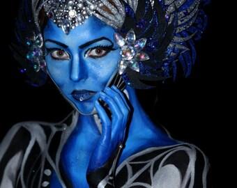 blue silver glitter headdress headpiece