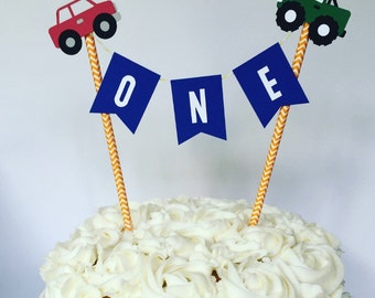 Car Truck Train Cake Bunting Topper / Smash Cake Topper / Straw Cake Topper