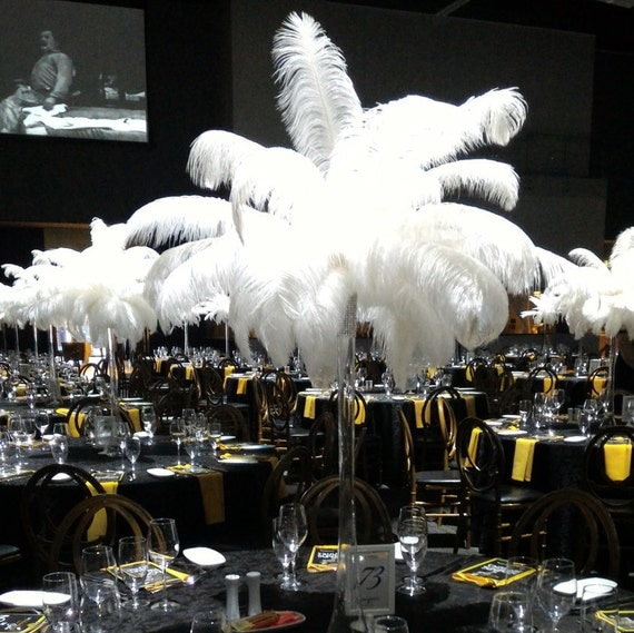 5ft eiffel tower ostrich feather centerpiece with white