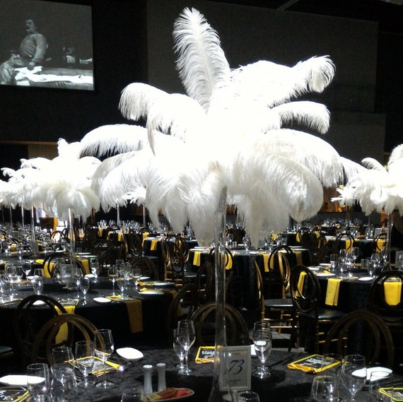 Ft tall eiffel tower ostrich feather centerpiece with white