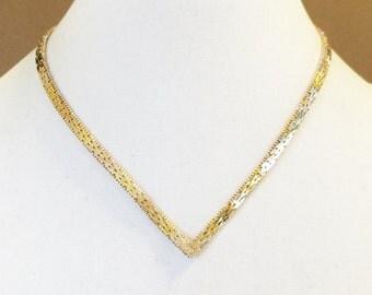 "Sterling Silver Tri Color ""V"" Necklace (26.9 grams)"