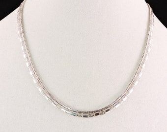 """Sterling Silver Textured Necklace 19"""""""
