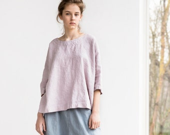 Loose linen KIMONO top with drop shoulder sleeves / Oversize linen top in ashes of rose color