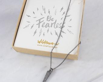 Spike Necklace - Dagger – Black Diamond Crystal Pave & Hematite - Personalized Jewelry