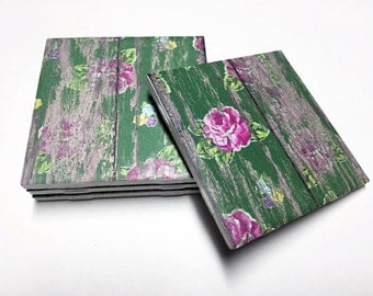 Floral Green Coasters - Floral Decor - Drink Coasters - Flower Decor - Tile Coasters - Ceramic Coasters - Table Coasters
