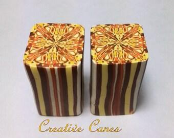 Yellow, Orange & Light Brown, Kaleidoscope Cane, Unbaked Polymer Clay Cane, Raw Clay Cane, Polymer Clay Cane