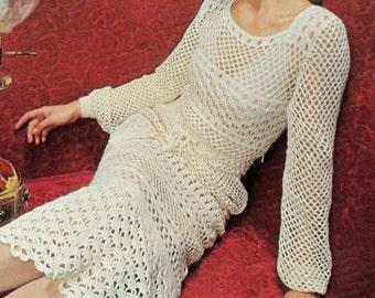 Crochet DRESS Pattern Vintage 70s Crochet Wedding Dress Pattern Crochet Open Work Dress Pattern Crochet Midi Dress Mini Dress