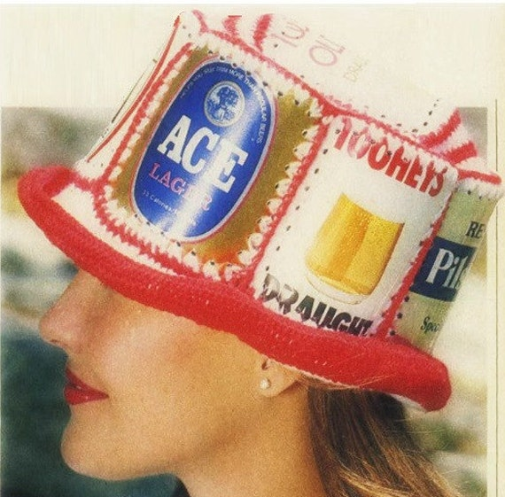 Vintage crocheted beer can hat