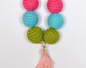 Bright Crochet/Wood Bead Tassel Kid's Necklace
