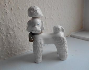 Cute Vintage Retro Kitsch 1960s White Poodle 'Cherry' Brandy Bottle (Empty!) Ornament Accent Home Decor