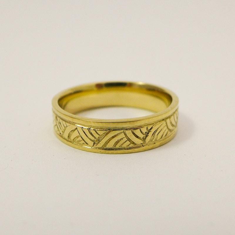 Mens Wedding Ring 14 Karat Gold Engraved Wedding Band