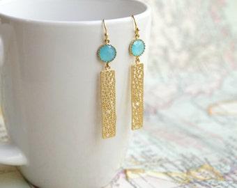 Blue and Gold Earrings, Gold Drop Earrings, Gold Earrings, Bohemian Earrings, Light Blue Earrings, Dangle Earrings, Sea Blue