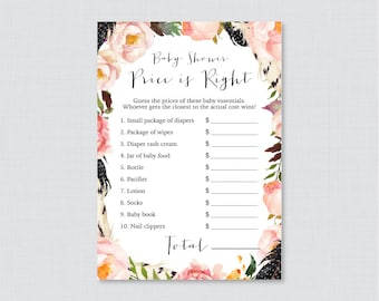 Boho Baby Shower Price is Right Game - Printable Baby Shower Game Instant Download - Pink Bohemian Price is Right Game Feathers - 0049