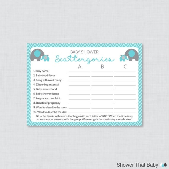 Elephant Baby Shower Scattergories Game Printable Download