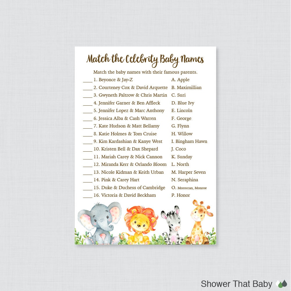 safari celebrity baby shower game celebrity baby name match