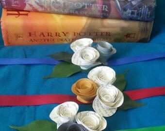 Harry Potter paper flower tie-on corsage..wedding..prom..formal..dance..date..mother..Hogwarts...Gryffindor..Ravenclaw..Slytherin.Hufflepuff