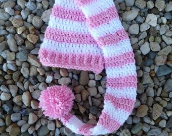 Newborn Long Stocking Hat--Pink & White