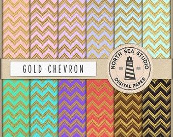 BUY5FOR8 Gold Chevron Digital Paper Chevron Paper Golden Patterns Digital Scrapbooking 12 JPG 300dpi Files Download