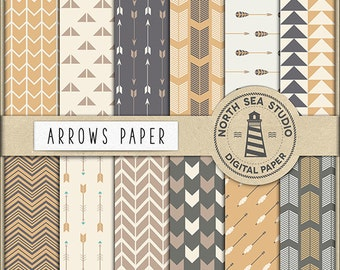 BUY5FOR8 Arrows Digital Paper Arrow Pattern Beige Brown Cream Arrows Background Scrapbook Papers Commercial Use Tribal Paper Download