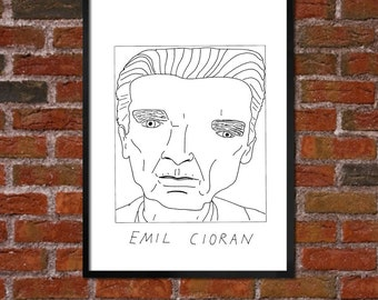 Badly Drawn Emil Cioran - Literary Poster - *** BUY 4, GET A 5th FREE***