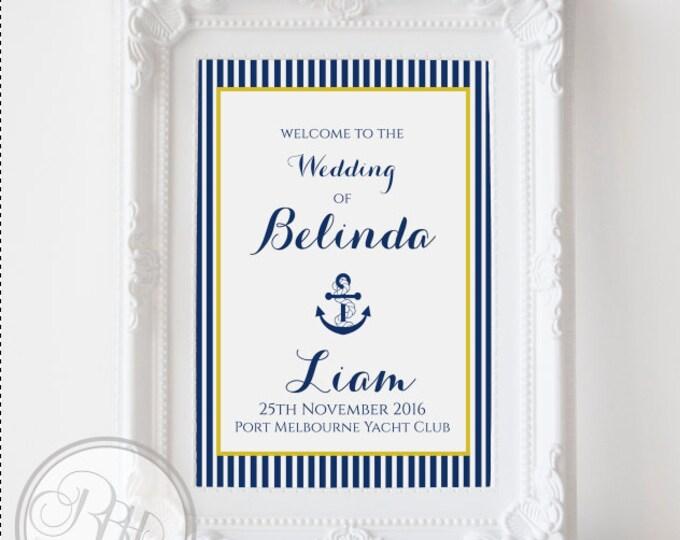 Nautical Wedding Welcome Sign-Custom Wedding Sign-Navy Stripe Yellow Wedding Sign-Custom Provided-Digital JPG FILE-DIY Printable-Xena