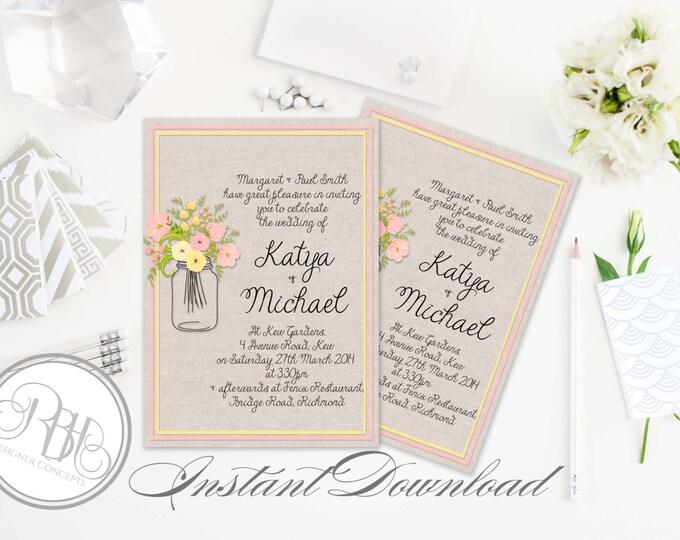 Rustic Wedding Invitation-INSTANT DOWNLOAD Template- 5x7 PDF Editable Text Only-Burlap with Mason Jar String Lights Printable - Georgina
