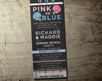 Pink or Blue Football Gender Reveal invitation | gender reveal party | boy or girl | High Quality digital printable file | Ticket style