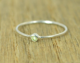 Tiny Peridot Ring, Peridot Ring, Tiny Silver Ring, Stacking Ring, August Birthstone, Sterling Ring, Dainty Ring, Stacking Ring, August Ring