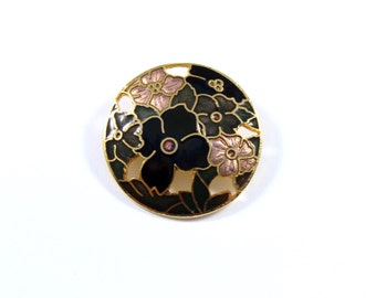 Vintage small round cloisonne brooch, round flower pin, cloisonne pin, black flower pin, enamel, flower pin brooch, blue pink black