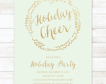 mint gold holiday party invitation printable wreath mint green gold glitter christmas party invitation card digital invite customizable