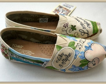 Bride's Love Story Shoes Unique Wedding Shoes Hand Painted Wedding TOMS Custom Wedding Flats Bridal Shoes Personalized Wedding TOMS