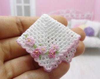 1:12 Dollhouse miniature baby crochet blanket with pink flowers