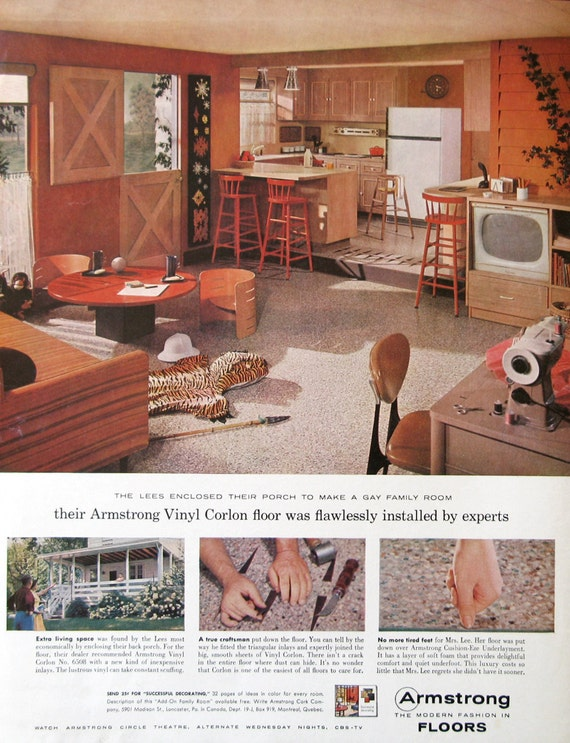 1959 armstrong vinyl floor ad 1950s country kitchen design  rh   etsy com