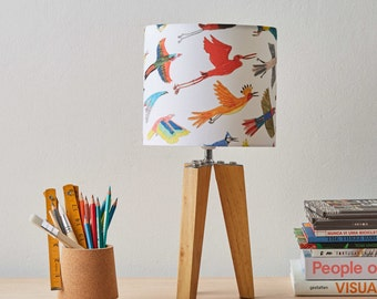 Small Birds Lampshade - drum lampshade home decor nursery lamp shade bird lampshade nursery decor lighting birds lampshade kids decor