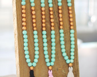 Teal and Copper Tassel Necklace