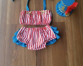 1st Birthday Cake Smash Outfit Circus Ringleader Carnival Two Piece with Top Hat in Turquoise and Red and White Stripe for Baby Girl