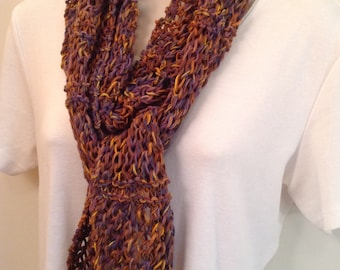 Purple and Earth Tone Knit Skinny Scarf