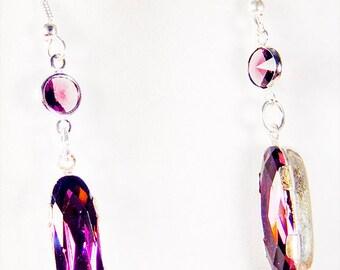 Amethyst crystal, crystal, Purple crystal earrings, purple crystal jewelry, amethyst crystal, Swarovski crystal, amethyst, dangle - 1555